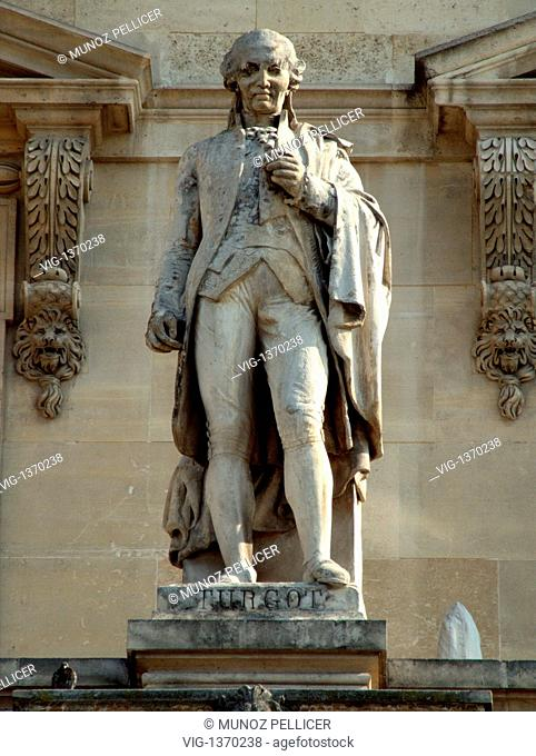 FRANCE, PARIS, 01.05.2007, Statue of French economist and statesman Anne-Robert-Jacques Turgot, Baron de Laune, at the facade of The Louvre Museum - Palais...