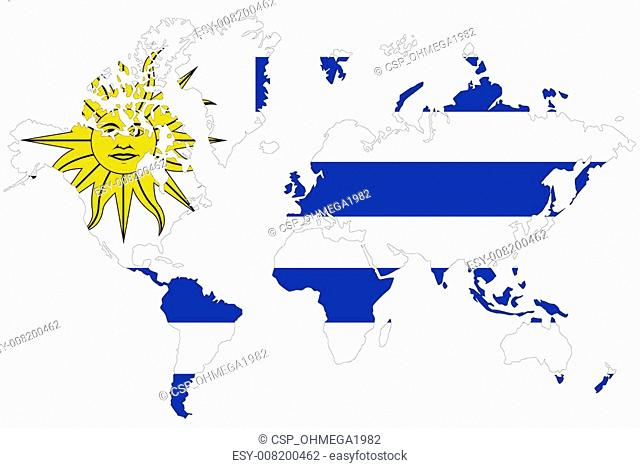 Uruguay map symbol with flag