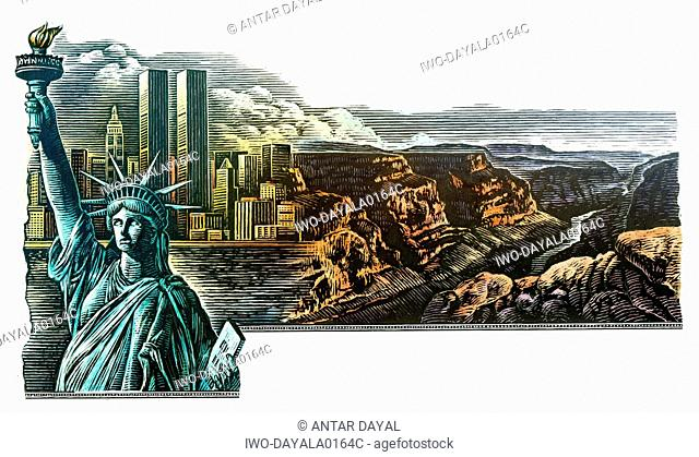 New York City and Grand Canyon collage