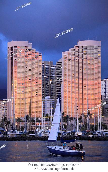 Hawaii, Oahu, Waikiki, Ala Wai Yacht Harbor, Hawaii Prince Hotel,