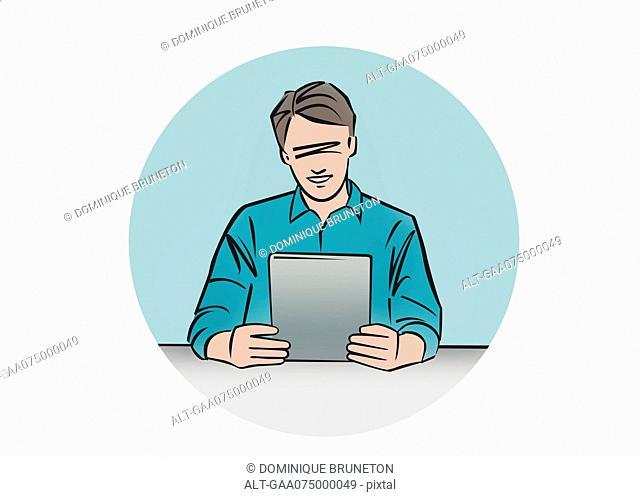 Illustration of man using digital tablet