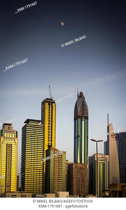 Skyscrapers in city center  Jumeirah area  Dubai city  Dubai  United Arab Emirates