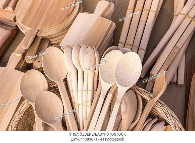 Many woodens spoons made from Buxus sempervirens tree are sale on stall in Tarakli,Turkey