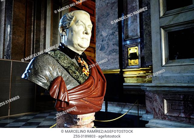 Sculpted bust of Auguste de Montferrand, a French Classicism architect who worked primarily in Russia. His two best known works are the Saint Isaac's Cathedral...