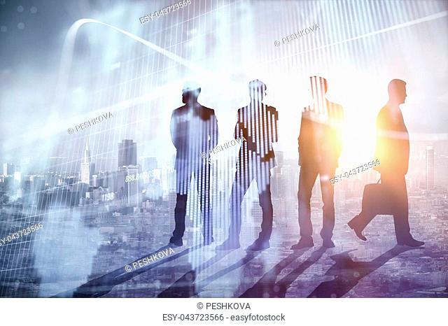 Abstract people silhouettes with digital map. Teamwork, global business and meeting concept. Double exposure
