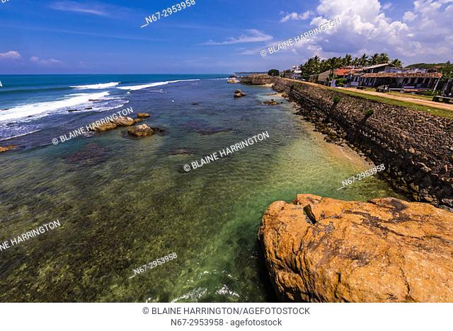 Galle Fort, in the Bay of Galle on the southwest coast of Sri Lanka, was built first in 1588 by the Portuguese, then extensively fortified by the Dutch during...