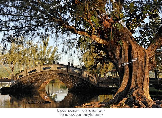 Bridge over water at Japanese Garden, Hilo, Big Island, Hawaii Islands, USA