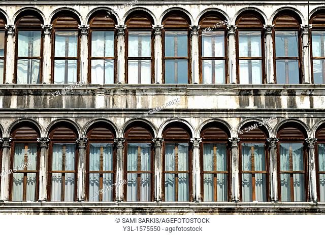 Row of windows, Piazza San Marco, Venice, Italy