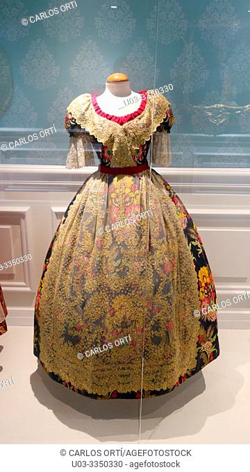 Dress in the vlaencian museum of the Cervelló Palace, Valencia, Spain, Europe