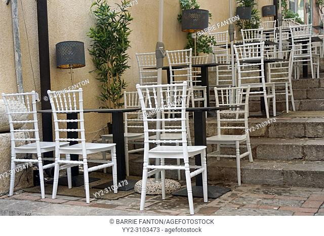 White Chairs and Tables on Steps, Café, Taormina, Sicily, Italy