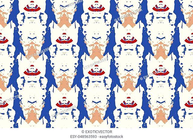 Vector tie dye seamless pattern. Hand drawn shibori print. Ink textured japanese background. Modern batik wallpaper tile