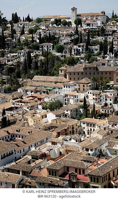 View from the Alhambra in Granada onto the houses of the old city centre, Granada, Andalusia, Spain, Europe