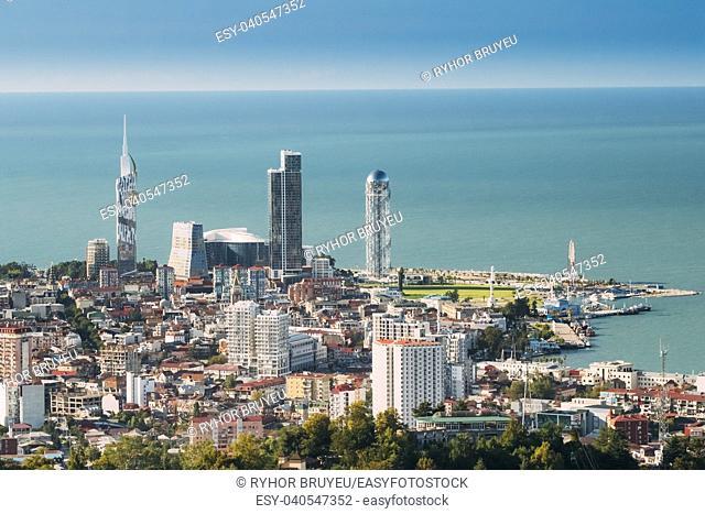 Batumi, Adjara, Georgia. Aerial View Of Urban Cityscape At Sunny Summer Day. Black Sea Technological University, Hotel, Residential House And Alphabet Tower