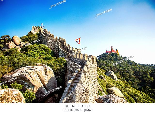 View of Pena National Palace, and part of the wall of the Moorish Castle, Sintra, Lisbon area, Portugal