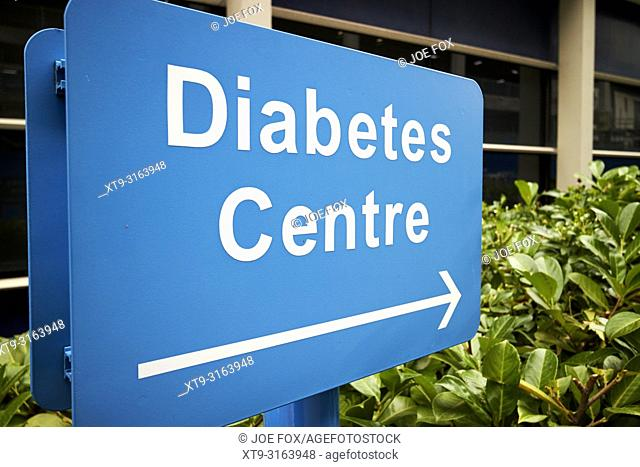 Sign for diabetes centre outside an NHS hospital in Liverpool in the UK
