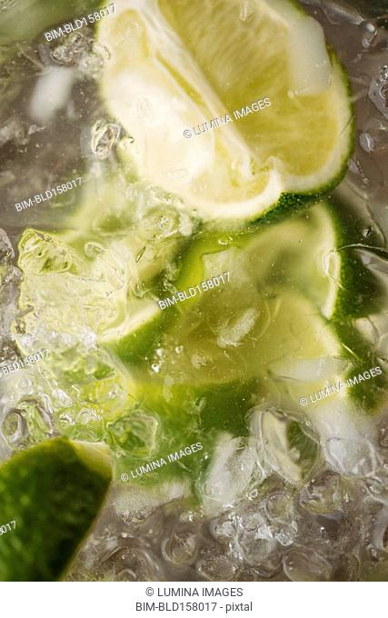 Close up of lime in iced drink