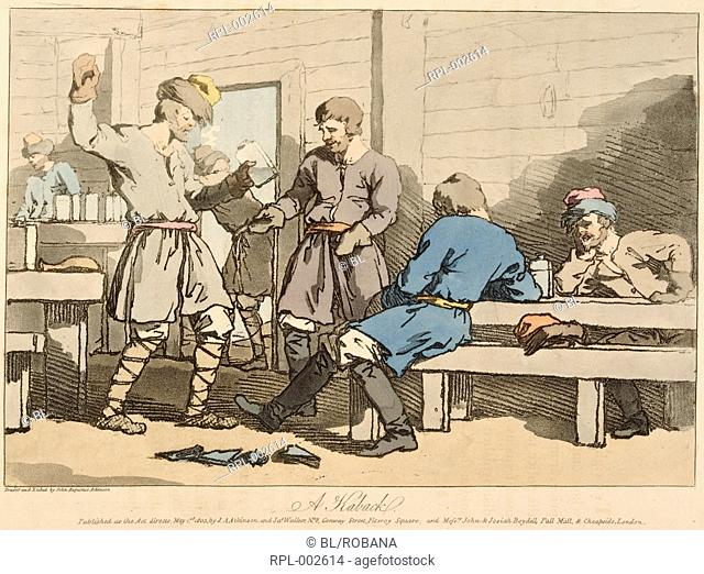 A Kaback, Russian men drinking in an Inn or Kaback. Image taken from A Picturesque Representation of the Manners, Customs, and Amusements of the Russians