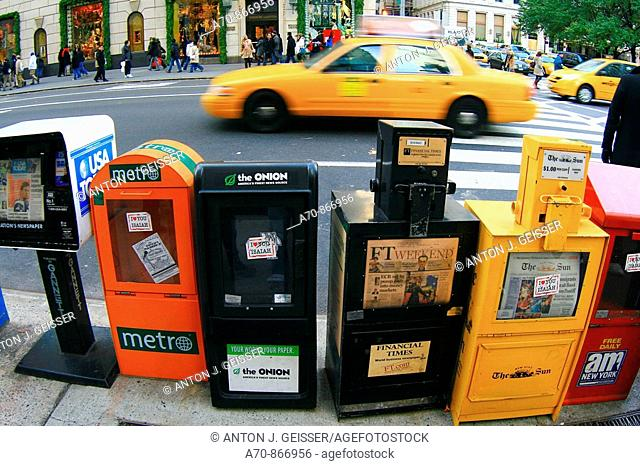 Newspaper vending machines. New York City. USA