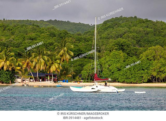 Beach with sailing boat, Marie Galante, Guadeloupe