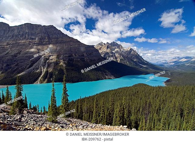 View of Peyto Lake with Peyto Peak und Mount Patterson in the background, Waputik Mountains, Banff National Park, Alberta, Canada