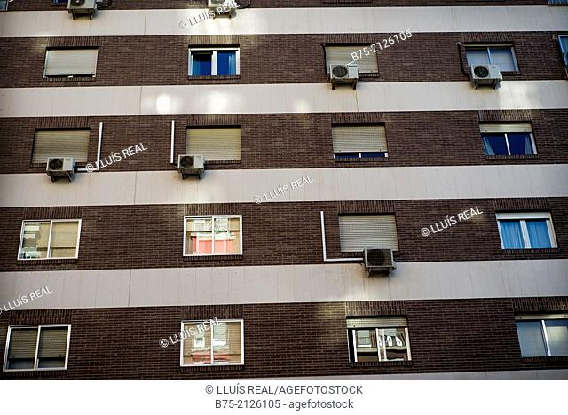 Closeup of a facade of an apartment building in the city of Granada. Province of Granada, Andalucia, Spain, Europe