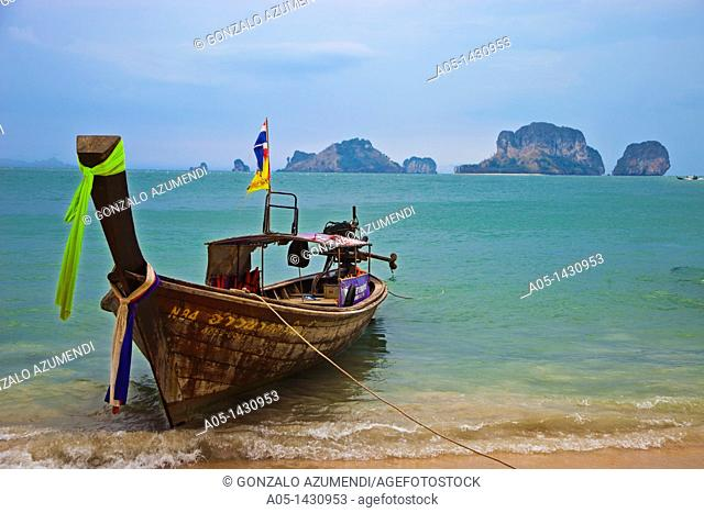 Railay bay, Rai Leh bay, Phranang Beach and limestone cliffs in the Andaman Sea Phranang Peninsula, Krabi province, Thailand