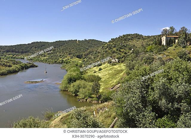 Guadiana River at the foot of Mertola, Alentejo region, Portugal, southwertern Europe