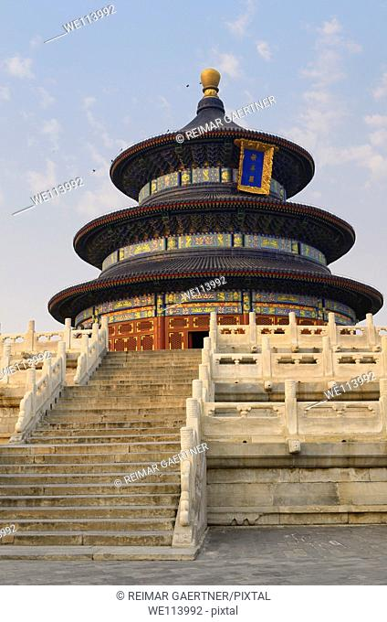 Steps to Hall of Prayer for Good Harvests at Temple of Heaven Park at sundown in Beijing