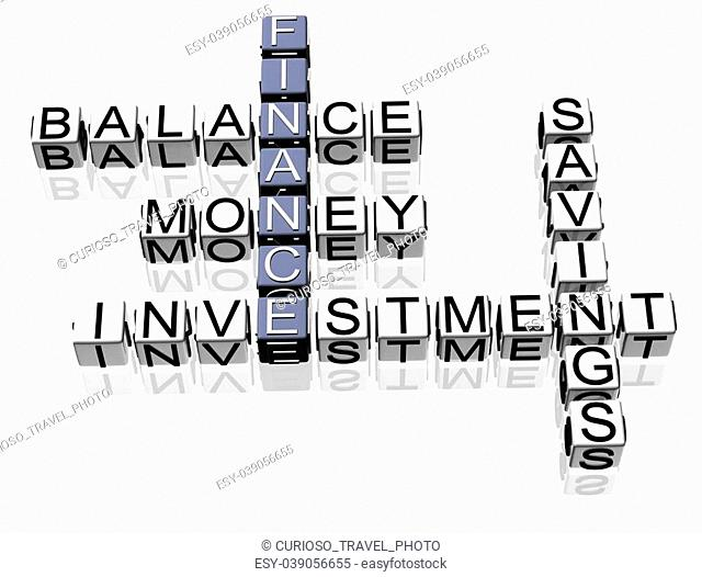 3D Finance Crossword text on white background