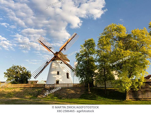 Podersdorf am See on the shore of Lake Neusiedl. The old windmill in Podersdorf, an icon of Podersdorf. The landscape around the lake is an UNESCO World...
