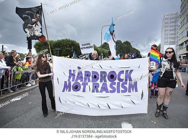 Young people in pride parade Stockholm, Sweden