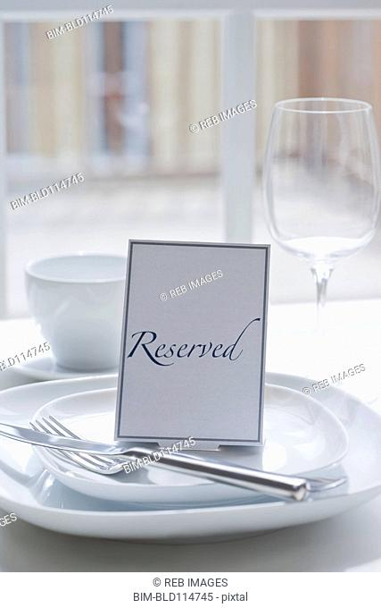 'Reserved' place setting at table