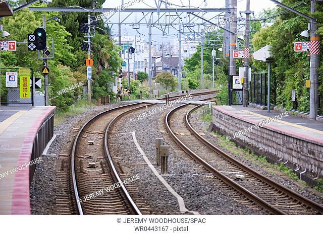 Empty Train Station Platform and Tracks