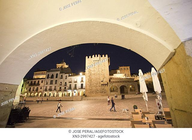 Ermita de la Paz, La Paz Hermitage, Bujaco Tower, Main square, Plaza Mayor, Old Town of Cáceres, medieval town, World Heritage City by UNESCO, Caceres City