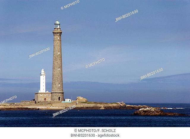 large and small lighthouse on the island Ile Vierge, Phare de l'Ile Vierge, cirgin island and virgin lighthouse, France, Brittany, Cote des Abers, Lilia