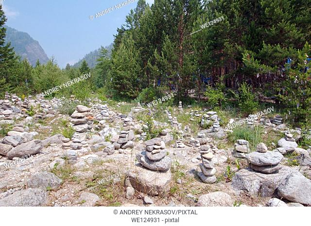 Stones of fulfillment of desires, stone garden. Arshan, Tunkinsky District, Republic of Buryatia, Siberia, Russian Federation