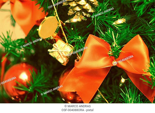 red ribbon and balls for christmas tree decoration