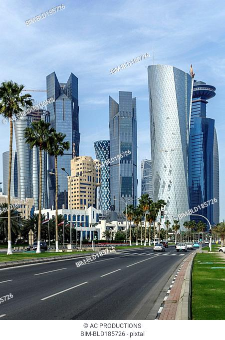 Highrise buildings in Doha cityscape, Doha, Qatar