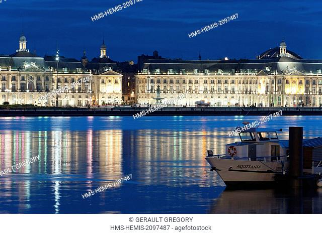 France, Gironde, Bordeaux, area listed as World Heritage by UNESCO, Place de la Bourse in the foreground the Garonne river