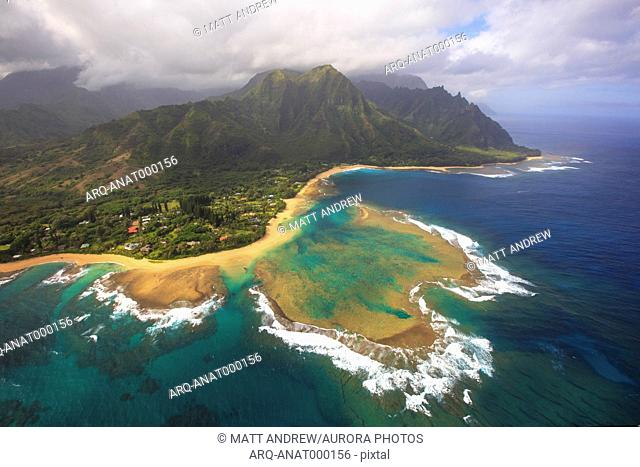 Aerial View Of Beach And Coral Reef Off The Shores Of The Hawaiian Island Of Kauai