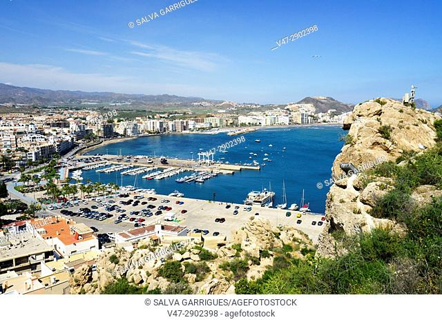 Panoramic view of the beach and the port of Aguilas, Murcia, Spain