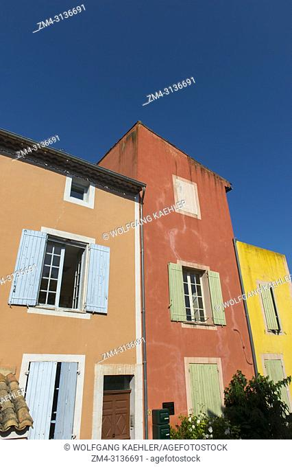 Detail of colorful houses in the village of Roussillon in the Luberon, Provence-Alpes-Cote d Azur region in southeastern France