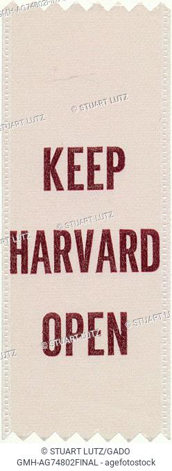 An antiwar protest ribbon that reads 'Keep Harvard Open', 1968