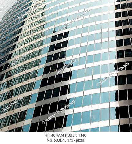 Low angle view of office buildings, Monroe Street, Chicago, Cook County, Illinois, USA