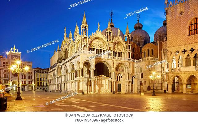 Venice by night - San Marco Square, Basilica San Marco and Doge's Palace (Palazzo Ducale), Venice, Italy, UNESCO