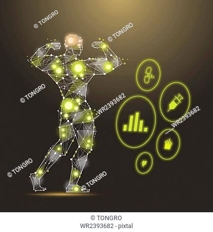 Polygon abstract illustration of a body builder in the effect of yellow lights and icons related to fitness and body building
