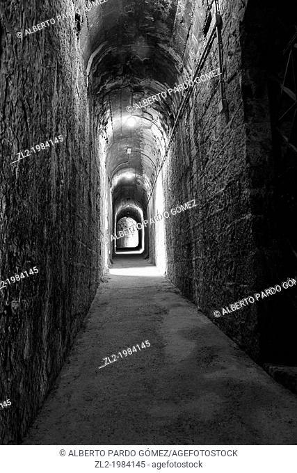 Interior corridor, Sagunto Roman amphitheater, Valencia, Spain