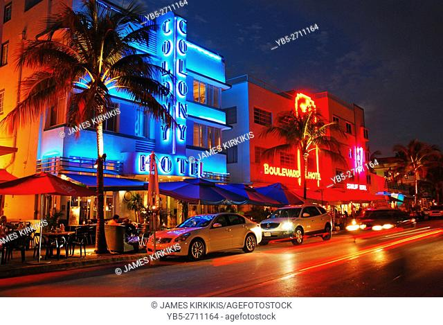 Neon Lights up the Night Along Ocean Boulevard, Miami Beach