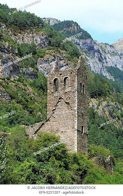 Ruins of the La Trinidad church. Pirineos mountains. Canfranc. Huesca province. Aragón. Spain