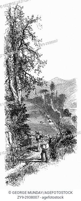 1870: Walkers hiking through the Dart River Valley Devon, England